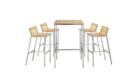 Stainless Steel Teak Bar Set