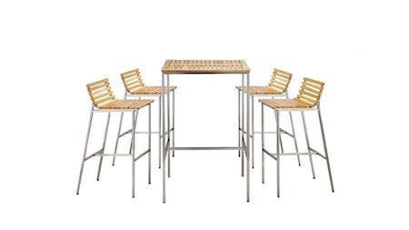 Stainless Steel Teak Bar Set