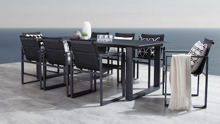 Element Black 9-Piece Outdoor Aluminium Dining Set