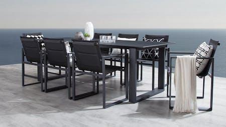 Element Black 9-Piece Outdoor Aluminium Dining Set