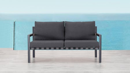 Klara Black Outdoor Two Seater Sofa