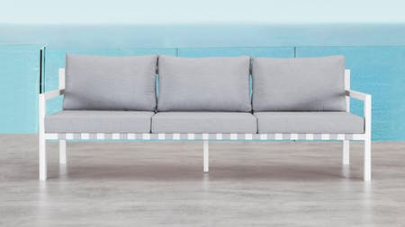 Klara White Outdoor Three Seater Sofa