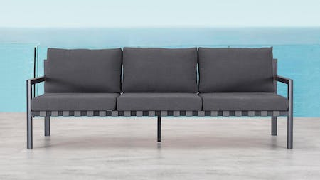 Klara Black Outdoor Three Seater Sofa