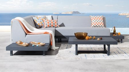 Alvory Outdoor Fabric Corner Lounge With Coffee Table