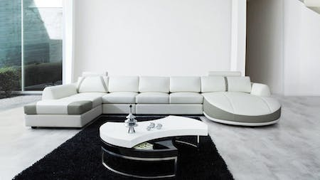 Messina Leather Chaise Lounge Option B