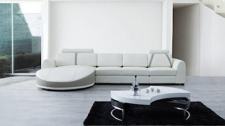 Messina Leather Chaise Lounge Option C