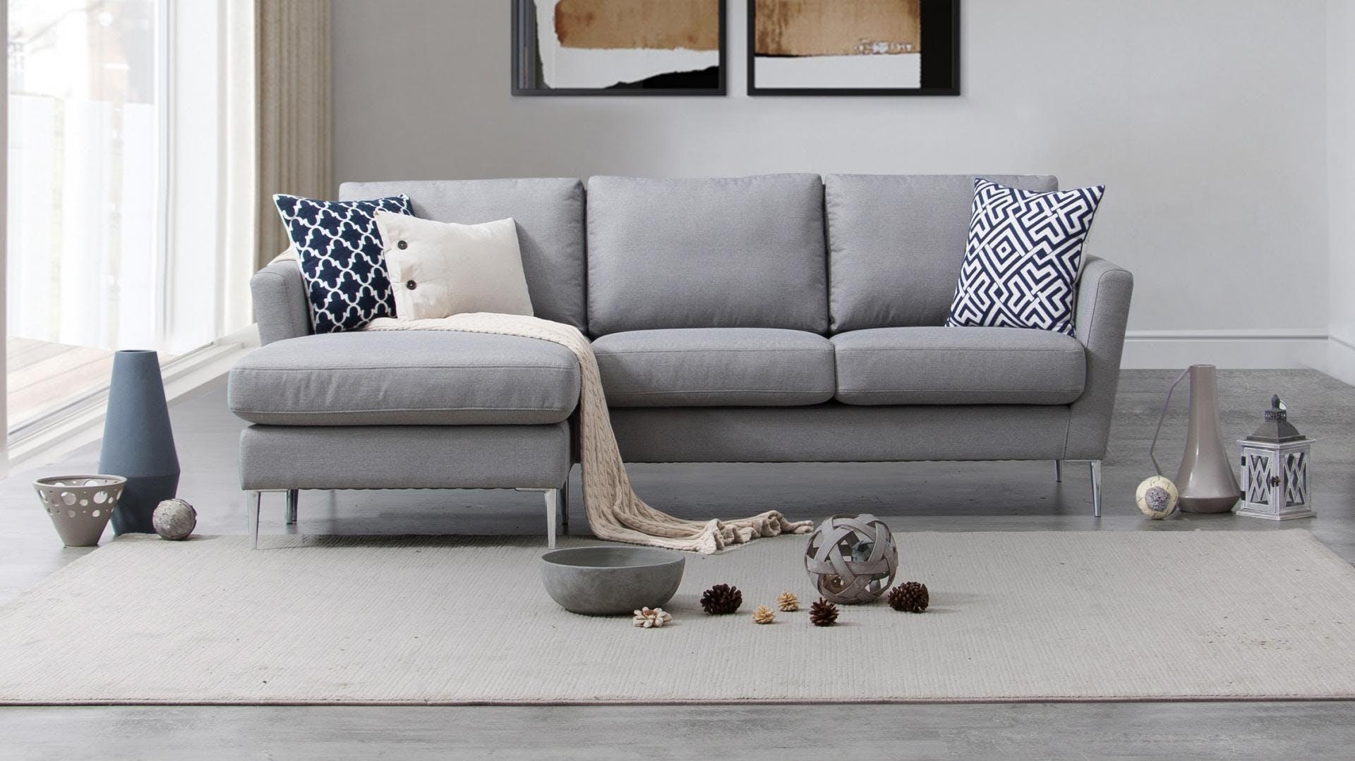 Mercury Fabric Three Seat Sofa With Reversible Chaise