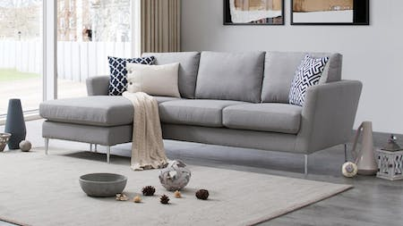 Mercury Fabric Three Seat Sofa with Reversible Chaise