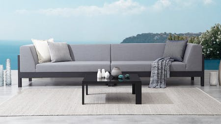 Lavi Black Outdoor Fabric Lounge With Coffee Table