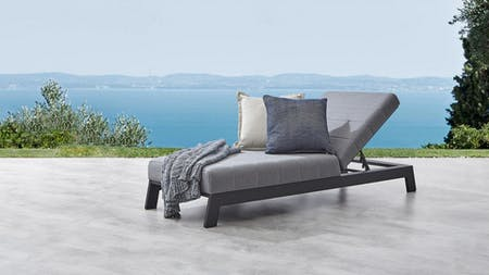 Noosa Black Outdoor Fabric Sun Lounge