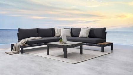 Malibu Outdoor Fabric Corner Lounge With Coffee Table