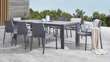 Santa Monica 9-Piece Outdoor Dining Set With Santa Monica Chairs