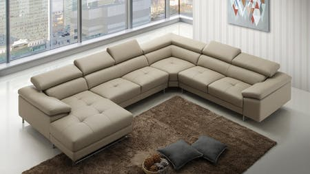 Boston Express Leather Modular Lounge Smoke