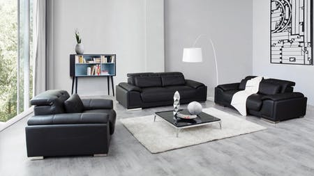 Bronte Leather Sofa Suite 3 + 2 + 1