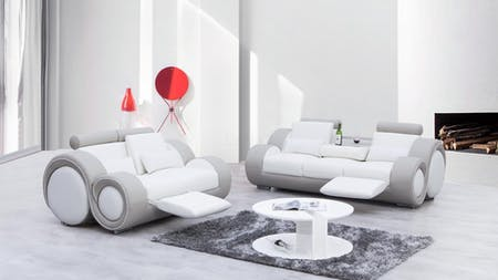 Unwind Leather Sofa Suite 3 + 2