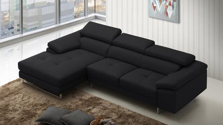 Boston Express Leather Chaise Lounge Black
