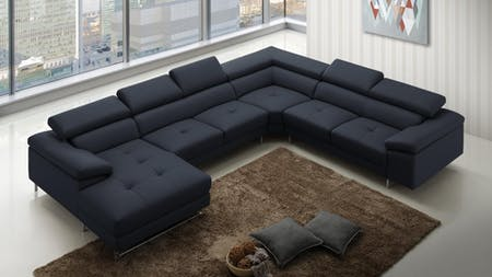 Boston Express Leather Modular Lounge Black