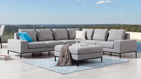 June Outdoor L Shape Lounge With Ottoman