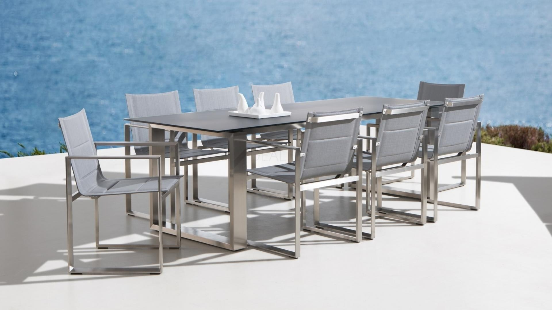 Element 9-Piece Outdoor Stainless Steel Dining Set - Lavita Furniture