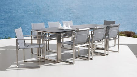 Element 9-Piece Outdoor Stainless Steel Dining Set