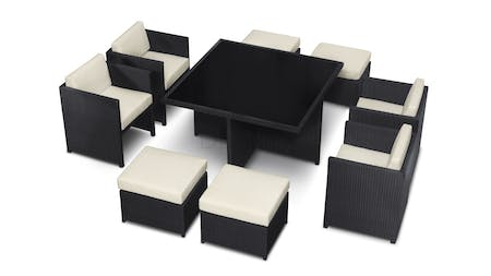 Cosimo 9-Piece Outdoor Wicker Dining  Cube