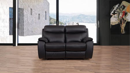 Lincoln Leather Recliner Two Seater Sofa
