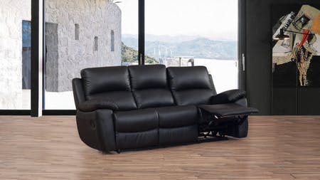 Lincoln Leather Recliner Three Seater Sofa
