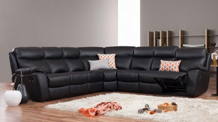 Balmoral Leather Recliner Corner Lounge Option C