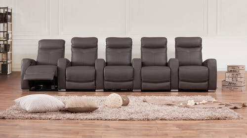 Regent Leather 5 Seater Home Theatre Recliner Lounge