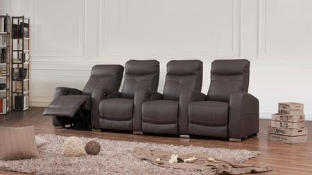 Regent Leather 4 Seater Home Theatre Recliner Lounge