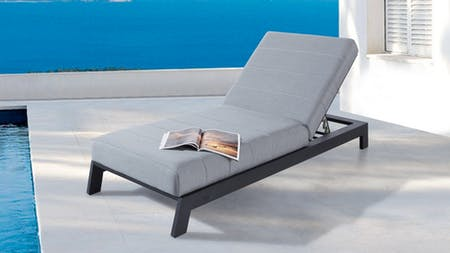 Noosa Black Outdoor Fabric Sun Lounge