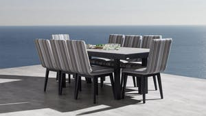Invini 9-Piece Outdoor Ceramic Dining Set With Kroes Chairs