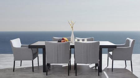 Invini 7-Piece Outdoor  Ceramic Dining Set With Hadid Chairs