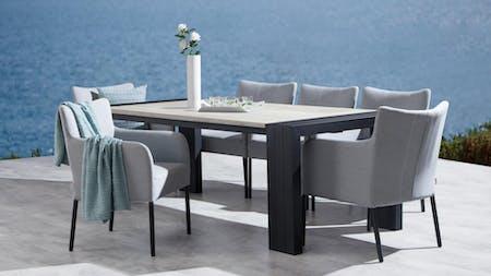 Hadid 7-Piece Outdoor Ceramic Dining Set