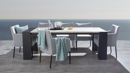 Hadid 7-Piece Outdoor Ceramic Dining Set