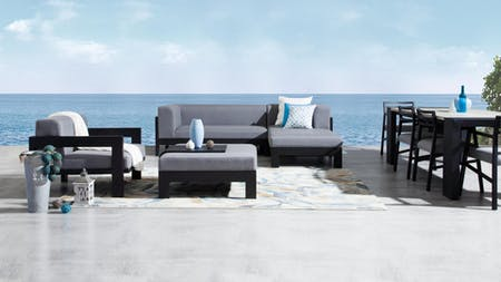 Lavi Black Outdoor Fabric Chaise Lounge With Armchair & Ottoman