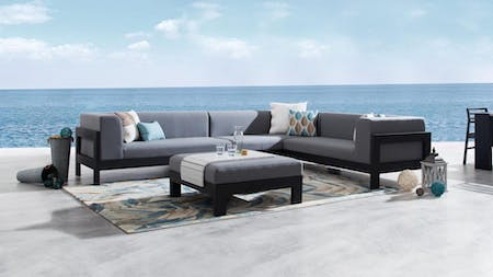Lavi Black Outdoor Fabric Corner Lounge With Ottoman