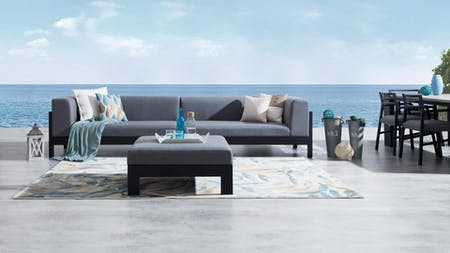 Lavi Outdoor Fabric Lounge With Ottoman