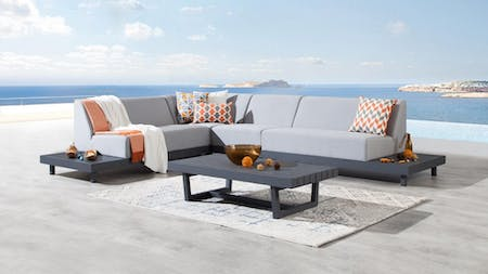 Alvory Outdoor Fabric L Shaped Lounge With Coffee Table
