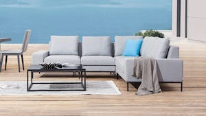 June Outdoor Fabric Corner Lounge With Coffee Table