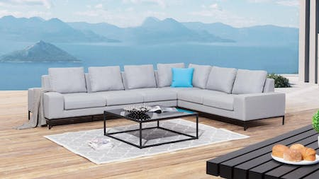 June Outdoor Fabric L Shaped Lounge With Coffee Table