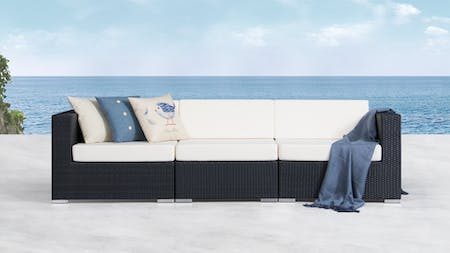 Moda Outdoor Wicker Three Seater Sofa