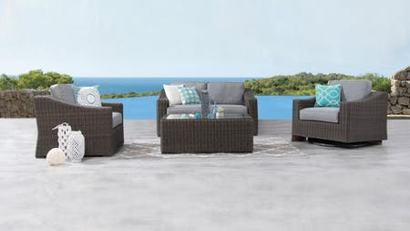 Canyon Outdoor Wicker Sofa Suite 2 + 1 + Rocker