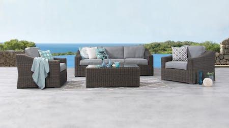 Canyon Outdoor Wicker Sofa Suite 3 + 1 + 1