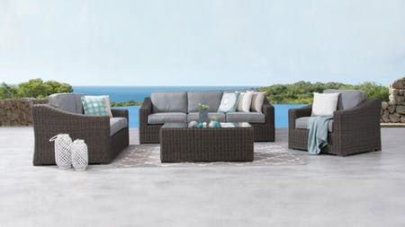 Canyon Outdoor Wicker Sofa Suite 3 + 2 + 1