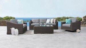 Canyon Outdoor Wicker Sofa Suite 3 + 2 + Rocker