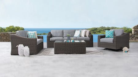 Canyon Outdoor Wicker Sofa Suite 3 + 2 + Rocker