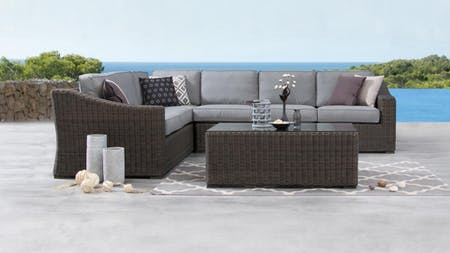 Canyon Outdoor Wicker L Shaped Lounge