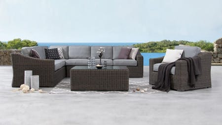 Canyon Outdoor Wicker L Shaped Lounge With Armchair