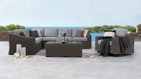 Canyon Outdoor Wicker L Shape Lounge With Rocker